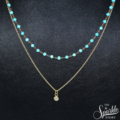 The Sparkle Story Turquoise Beads Gold Plated Necklace Chain With Round Charm (DGPTQ-16024)