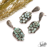 Emerald Sterling Silver Pendant & Earring Jewelry Set