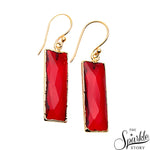 Pink Tourmaline Rectangle Shape Gold Plated Dangle Earrings for Women and Girls
