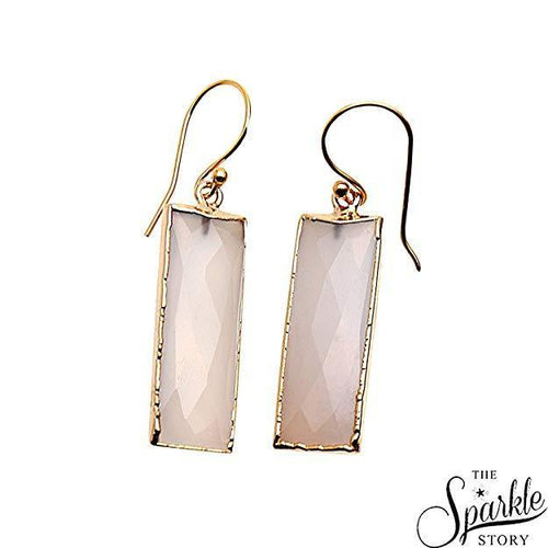White Chalcedony Rectangle Shape Gold Plated Dangle Earrings