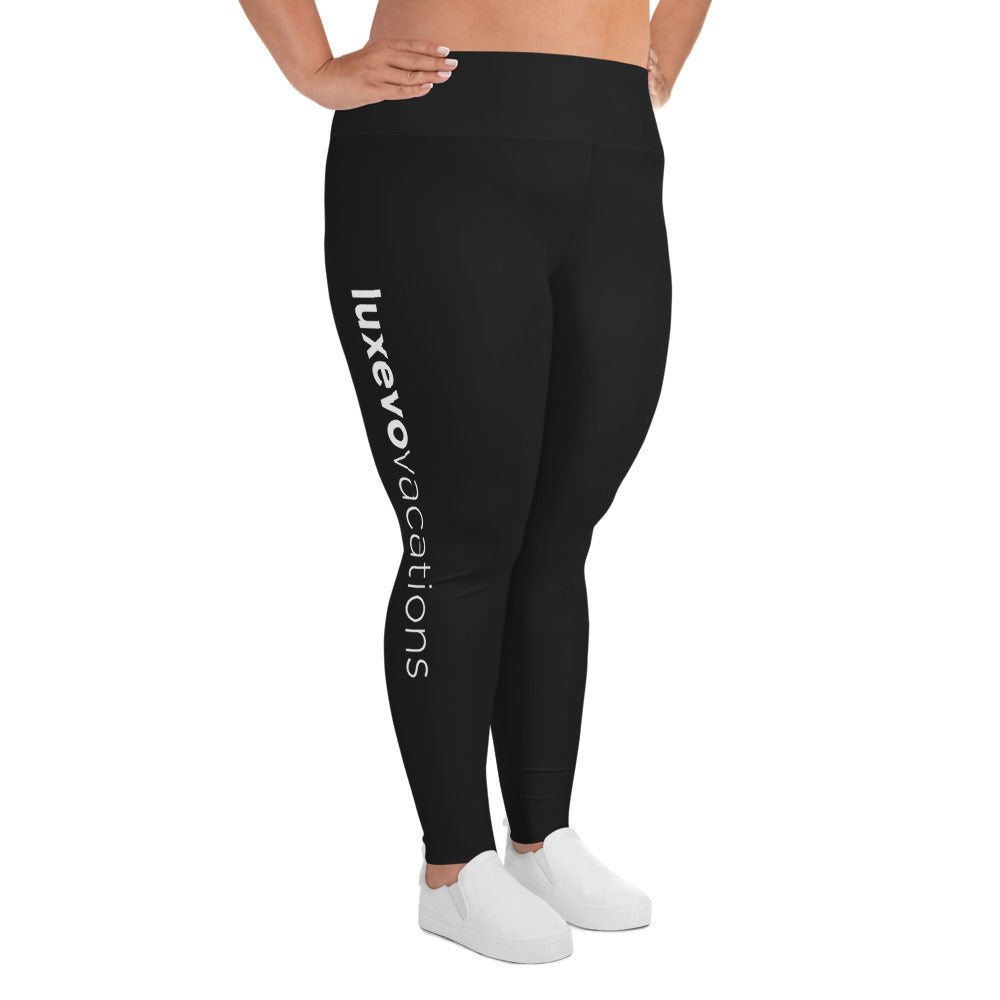 Black Luxevo Vacations Leggings (Plus Size)