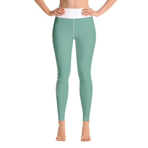 Green Luxevo Vacations Yoga Leggings