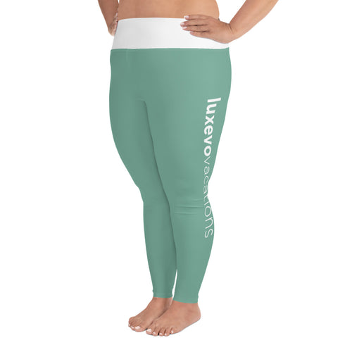 Green Luxevo Vacations Leggings (Plus Size)