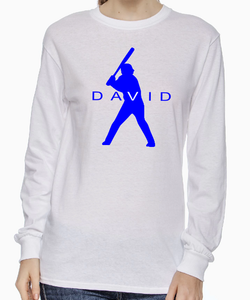 Baseball Player Silhouette Long Sleeve Custom T-shirt TF0205