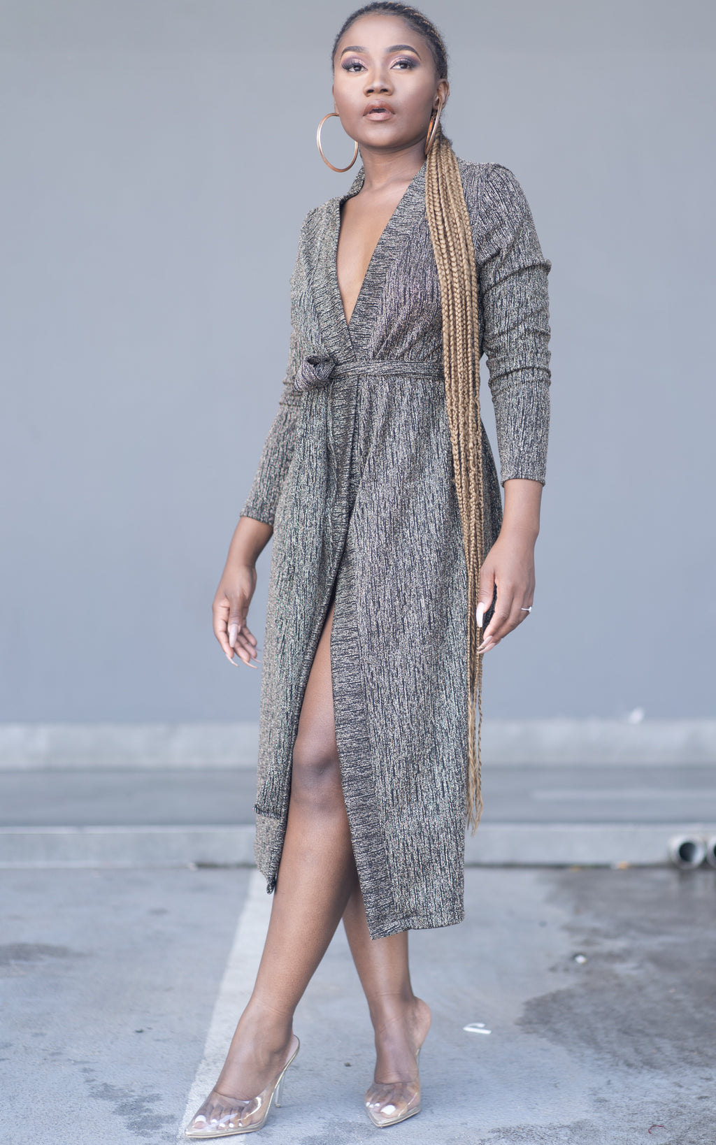 Aza Lurex Wrap Dress