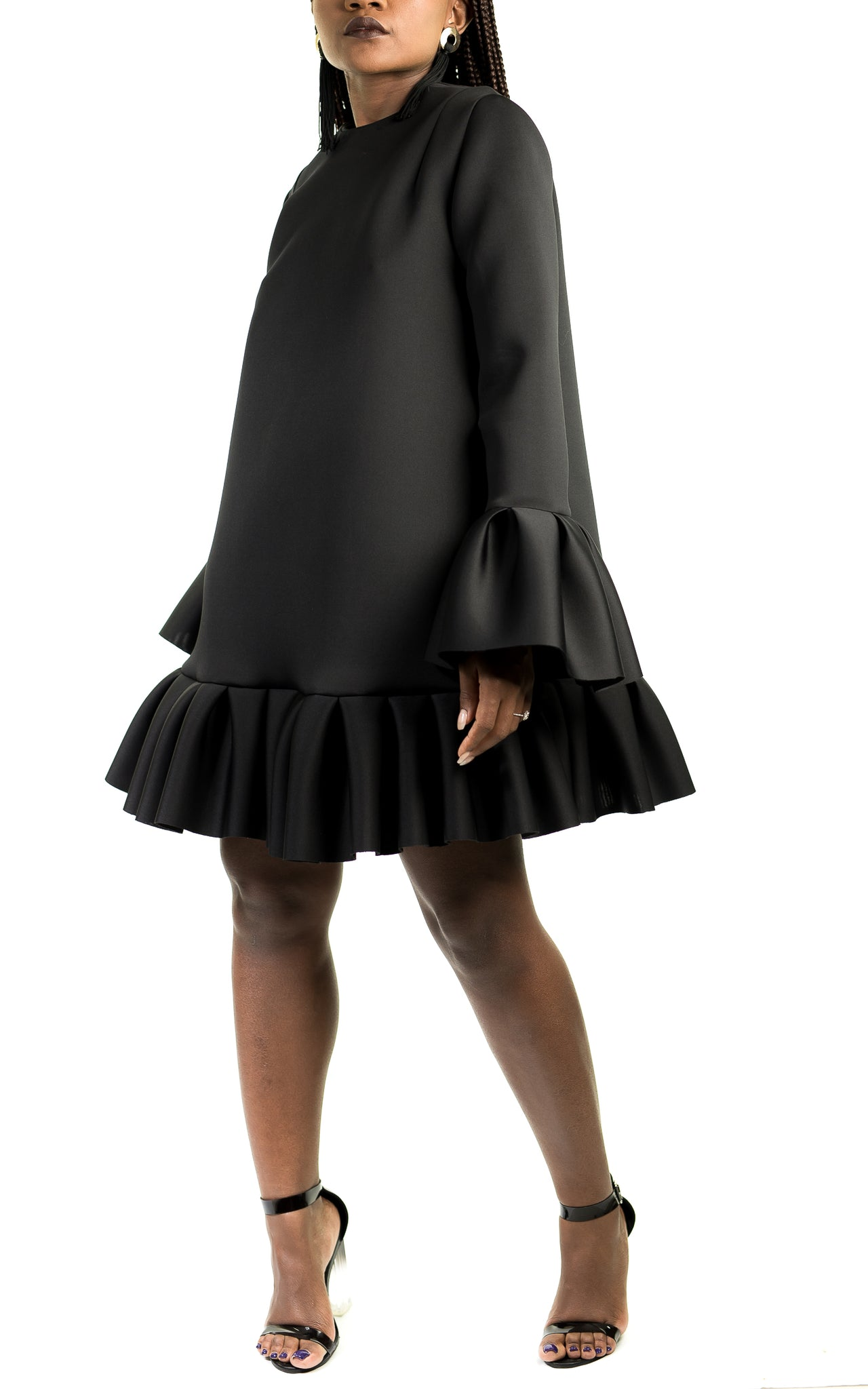 Black Pleated Jelly Dress