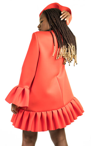 Red Pleated Jelly Dress