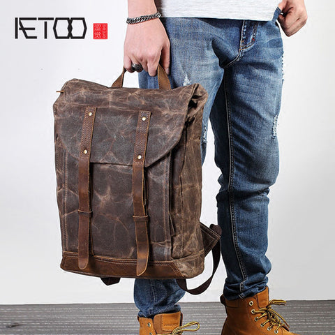AETOO Retro men canvas shoulder bag trend leisure bag crazy horse literary computer bag man bag travel backpack tide - Mr.Canadian.Traveler
