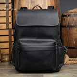 LAPOE Genuine Crazy Horse leather backpack men vintage mochila hombre teenage backpack travel bag school mochila hombre moda