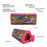 Red-Graffiti Bluetooth Speaker With Built-In Microphone