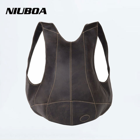 NIUBOA Genuine Leather Backpack Outside Pack Bags Men or Women Bicycles 100% Cowhide Backpack Shoulder Personalized Hug Bag - Mr.Canadian.Traveler