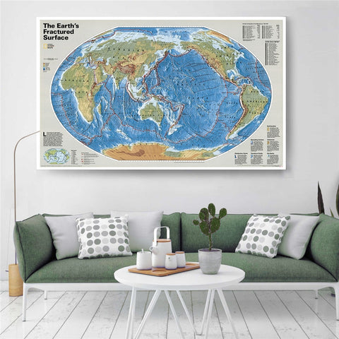 Nat Geo Earths Fractured Surface Map Wall Sticker - Mr.Canadian.Traveler
