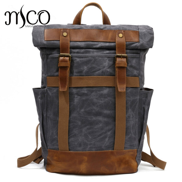 New Vintage Men Laptop Backpack Large Capacity Multifunction Backpacks Male Canvas School Bags Portable Wearproof Travel Bag