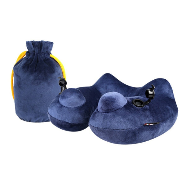 U shape Pillows Velvet Inflatable Travel Neck Pillow with Dual Airbags for Sleeping on Airplanes, Car, Office and Train.