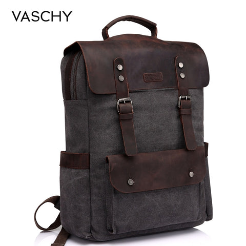 VASCHY Leather Laptop Backpack Travel Leisure Casual Canvas Campus School Rucksack with 15.6 Inch Laptop Compartment - Mr.Canadian.Traveler