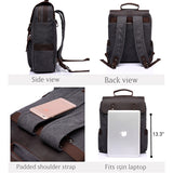 Leather & Canvas Laptop Backpack For Travel