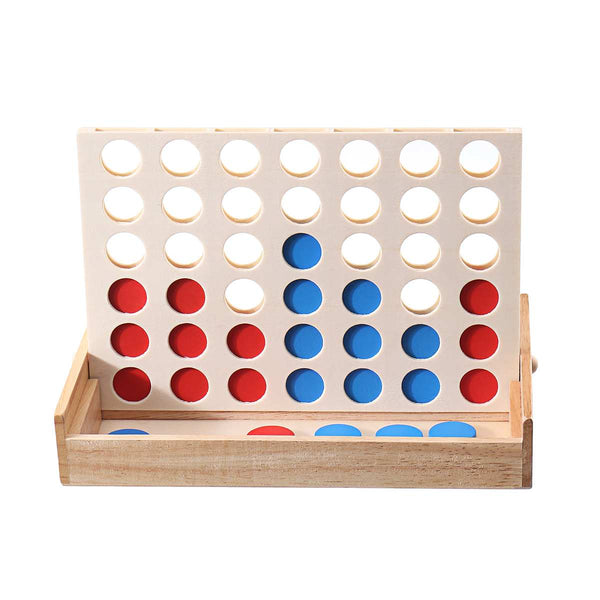 Family Fun Rubber & Wood Connect Four In A Row 4 Game