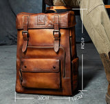 Vintage Luxury Suede & Leather Men's Travel Backpack