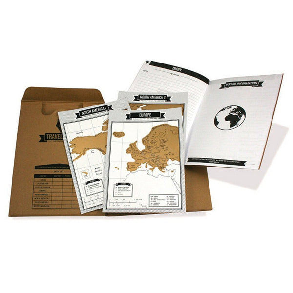 Scratch Travel Map Log Tourist Journal with 8 mini World Maps Diary Experiences Maps