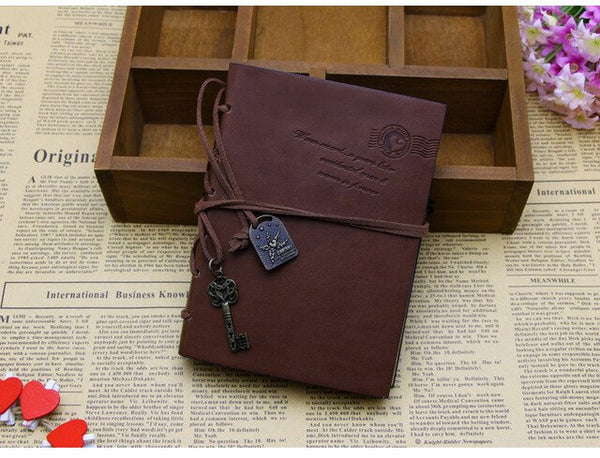 1 Vintage Retro Classic Leather Blank Pages Notebook For Kids