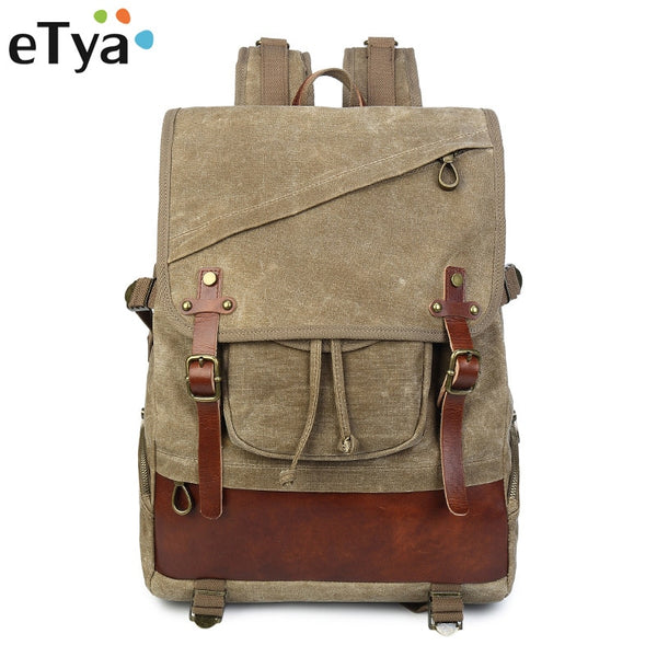 eTya High Quality Men's Travel Bags Casual Backpack Fashion Canvas Shoulder Bag Large capacity Multifunction Vintage Backpacks