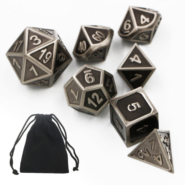 7pcs Embossed Heavy Metal Polyhedral Dice DnD RPG MTG SET +Bag for board games