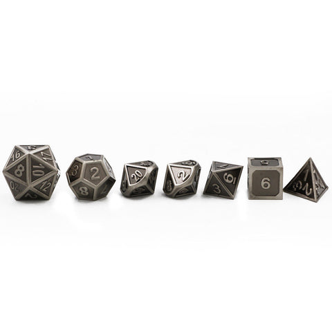 7pcs Embossed Heavy Metal Dice +Bag - Mr.Canadian.Traveler