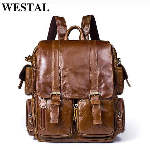 WESTAL Men Backpack for 14inch laptop Backpacks Large Capacity Student Backpack Genuine Leather Travel Backpacks for teenager - Mr.Canadian.Traveler