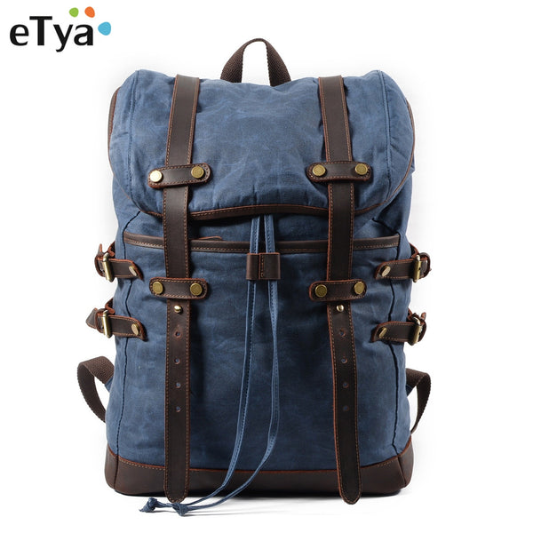 eTya Canvas Men's Luggage Bag Casual Backpack Male Waterproof Fashion Travel Bag Large Capacity Travel Organizer Storage Bag