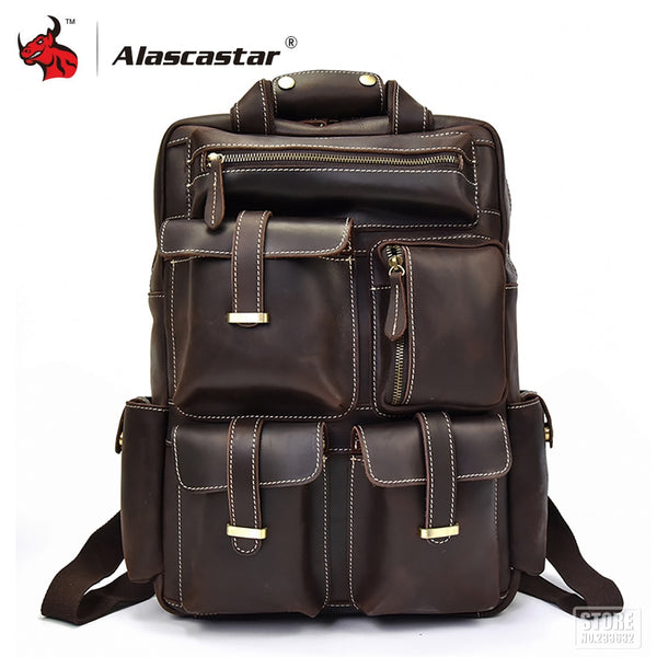 Full grain cow leather Motorcycle Bag Multifunction Men Backpack Retro Vintage Backpack Large Capacity Travel Bag