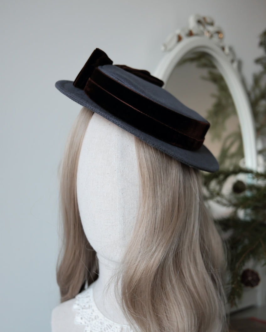 Petite Sailor Hat in Cool Grey with Brown Side Bow