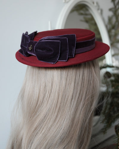 Petite Sailor Hat in Dark Red & Purple