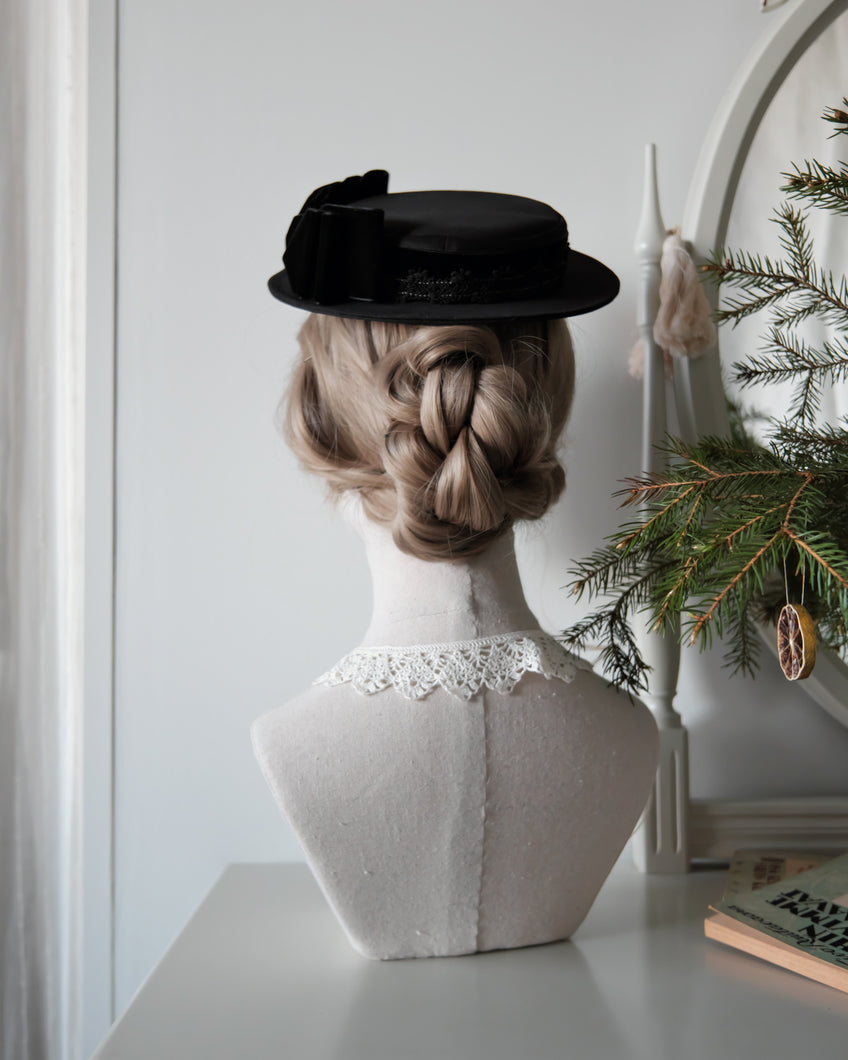 Petite Sailor Hat in Black with Side Bow