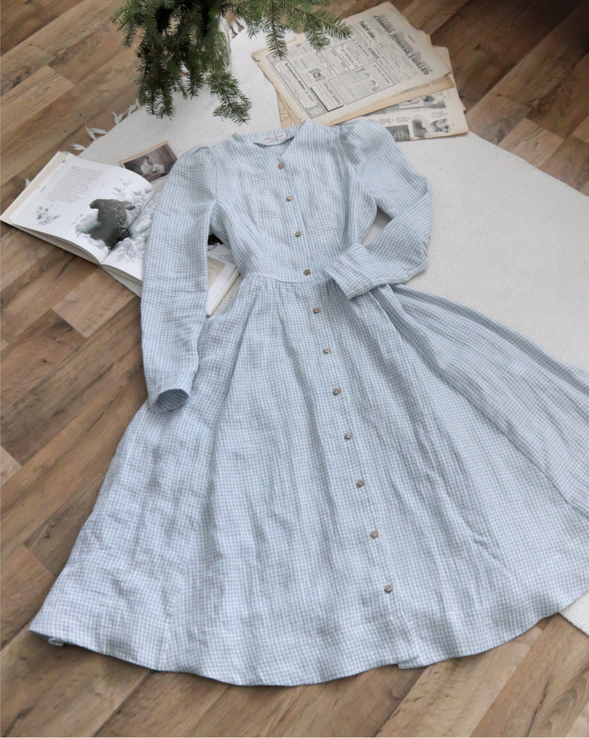 Light Blue Checkered Linen Dress