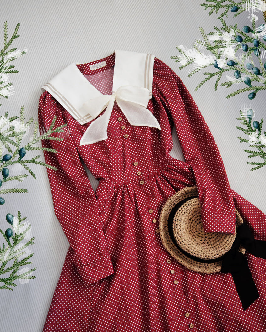 Red polkadot sailor collar dress