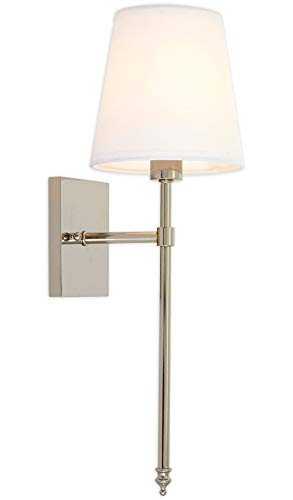 Single Traditional Extended Rod Wall Light With Fabric Shade | Polished Nickel Vanity Lamp Sconce With Led Bulb | Interior Lighting