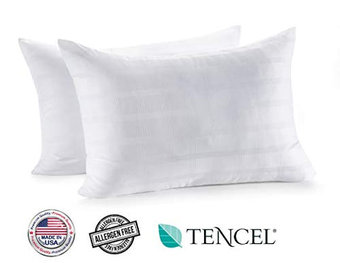 In Style Furnishings - Luxury Set Of 2 Gel Fiber Bed Pillows  Made In Usa  Hotel Quality, Hypoallergenic, Supportive For Head And Neck,Cooling Tencel + Cotton
