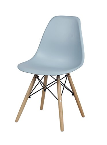 Gia Fog Gray Armless Home Office/Side Dining Chair - Eames Style - Wood Legs - Seat Height 18 Inch - Weight Capacity Of 300+ Pounds - Easy Assembly - Extra Durable And Comfortable