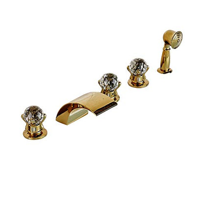 Rozin Gold Polished 5Pcs Tub Filler Faucet Crystal Knobs Mixer With Hand Shower