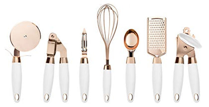 Cook With Color 7 Pc Kitchen Gadget Set Copper Coated Stainless Steel Utensils With Soft Touch Nylon White Handles