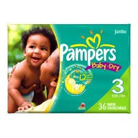 Pampers Baby Dry Diapers, Size 3, Jumbo Pack, 36 Ct