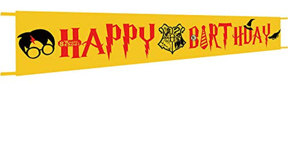 Extra Large Harry Potter Happy Birthday Banner - Harry Potter Theme Party Supplies - Wizard School Theme Party Decorations - 9.8 X 1.6 Feet