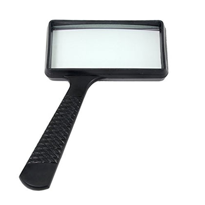 Ultra-Large Rectangular Hand-Held Magnifier (3X Magnification) - Scratch-Resistant Glass Lens - Large Horizontal Viewing Angle