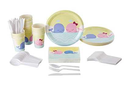 Disposable Dinnerware Set - Serves 24 - Cute Whale Animal Themed Party Supplies For Kids Birthdays, Baby Showers, Gender Reveal, Includes Plastic Knives, Spoons, Forks, Paper Plates, Napkins, Cups