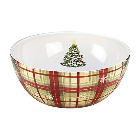 Certified International 22834 Holiday Wishes Plaid Bowl 10  X 4  Servware, Serving Accessories One Size Multicolor