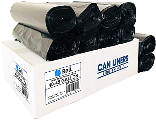 20aff8d05ead Reli. Trash Bags, 40-45 Gallon (250 Count Wholesale) - Star Seal High  Density Rolls (Black) - Can Liners, Garbage Bags With 40 Gallon (40 Gal) To  45 ...