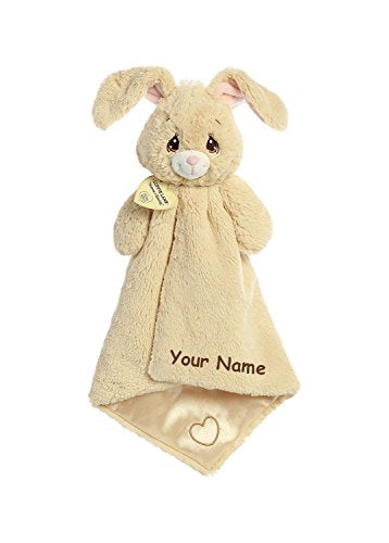 Aurora Personalized Precious Moments Baby Floppy Bunny Luvster Plush Blanket With Heart For Baby Boy Or Baby Girl - 16 Inches