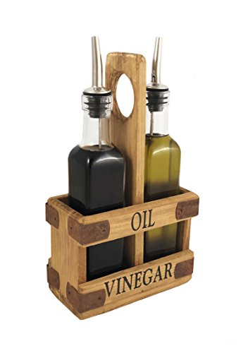 Autumn Alley Rustic Olive Oil &Amp; Vinegar Dispenser Set - Cruet Set With Wood Caddy