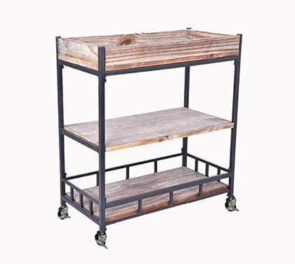 Diwhy Industrial 3 Tier Rolling Utility Storage Cart Wine Beverage Rolling Wood And Metal Wine Rack With Wheels Kicthen Bar Dining Room Tea Wine Holder Serving Cart