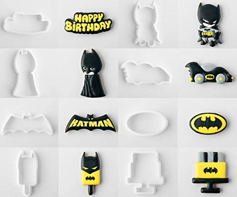 American Confections Batman Cookie Cutter With Matching Stencils Batmobile, Happy Birthday - Set Of 8